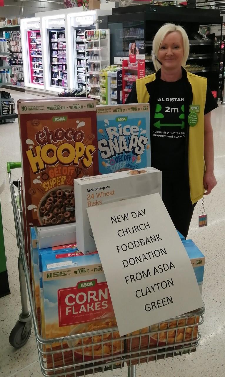 Donation to New Day Church Foodbank | Asda Clayton Green
