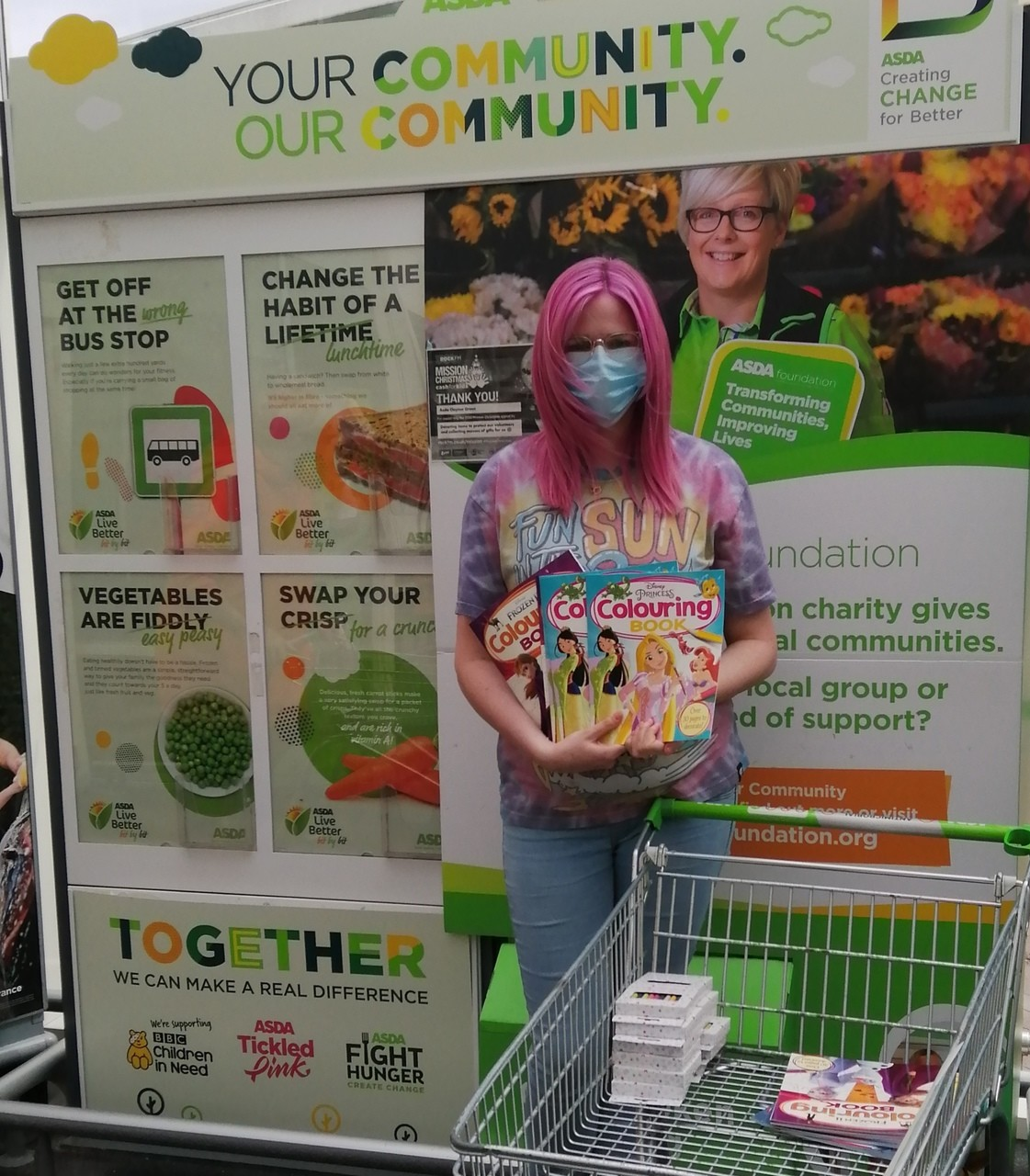 Donation of colouring books and crayons for Preston safenet women's refuge.  | Asda Clayton Green