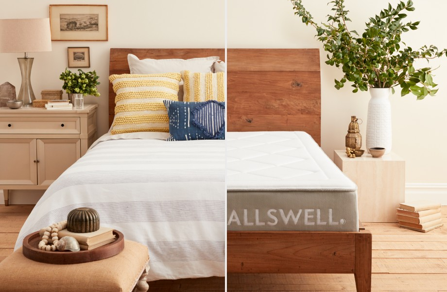 Allswell mattress is on a wooden bedframe