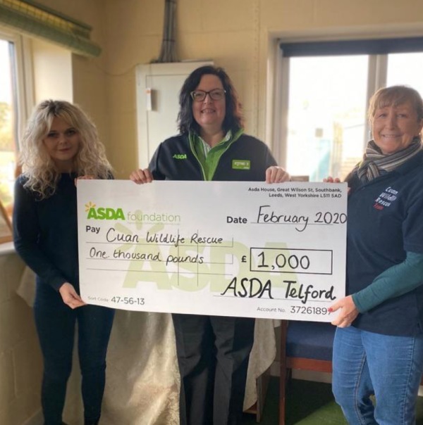 Cuan Wildlife Rescue Hospital who received an Asda Foundation cheque for £1,000