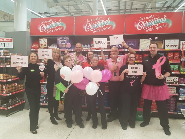Asda Llangefni has raised £3,000 for Tickled Pink