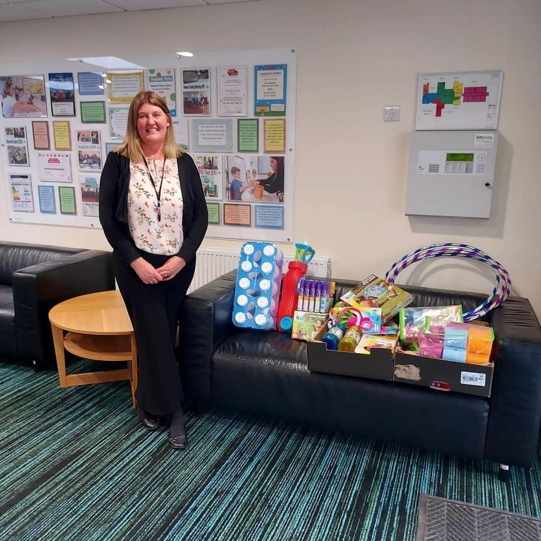 Donation to Oakdale primary school   Asda Peterborough