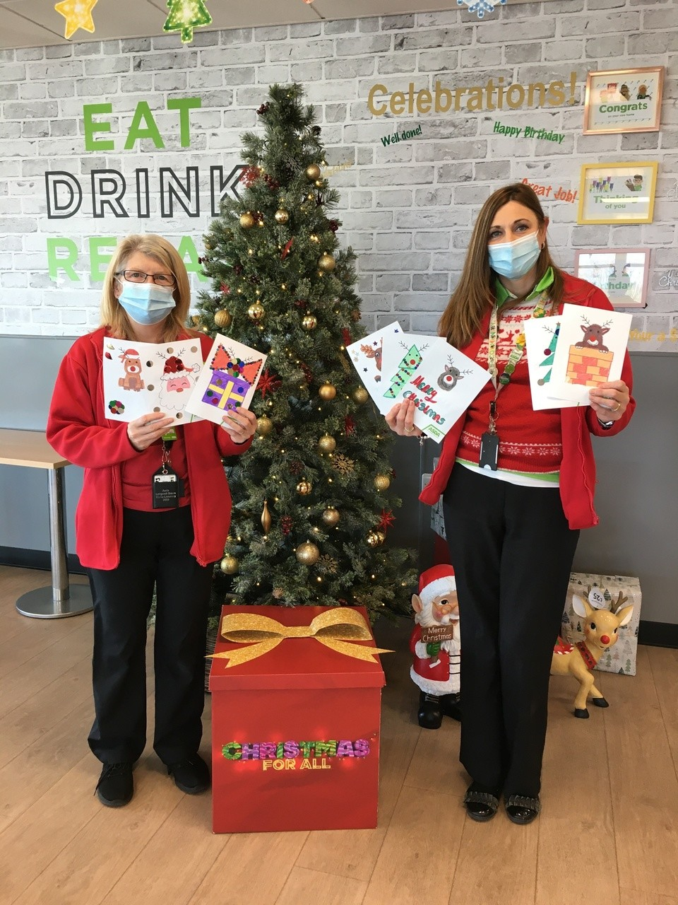Christmas cards made by the children at Parkwall Primary school for the Elderley care homes  | Asda Longwell Green