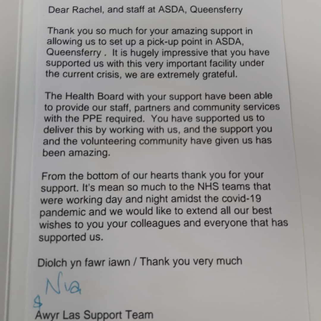 Thank You Card from the NHS | Asda Queensferry