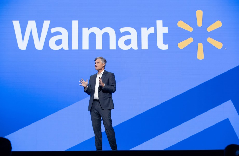 Brett Biggs, Executive Vice President & Chief Financial Officer, Walmart, Inc. speaks at Walmart Associate Meeting during Shareholders 2018