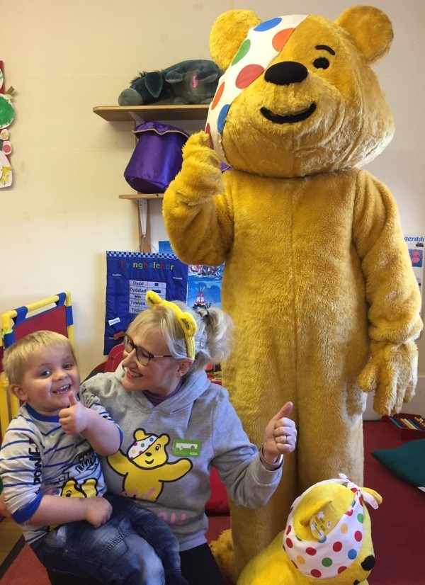 Asda Pwllheli community champion Jo Scott supporting BBC Children in Need