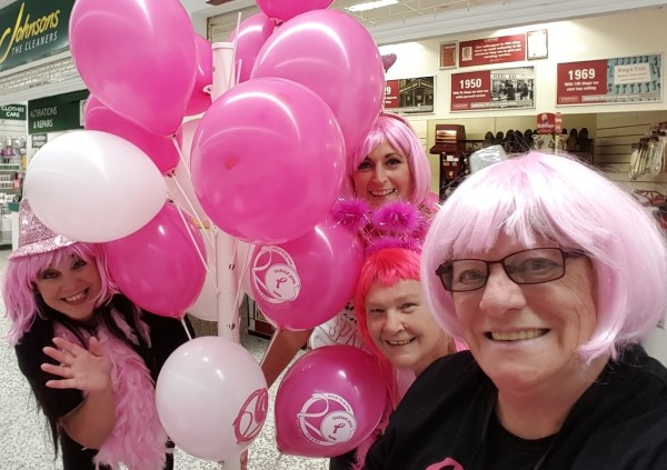 Susan with Asda Bristol colleagues fundraising for Tickled Pink