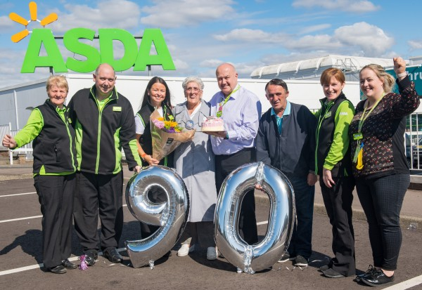 Asda Dundee Kirkton customer Margaret Finnie's 90th birthday