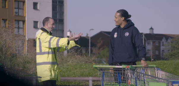 Virgil Van Dijk from Liverpool FC surprises David Lyons from Asda Bootle