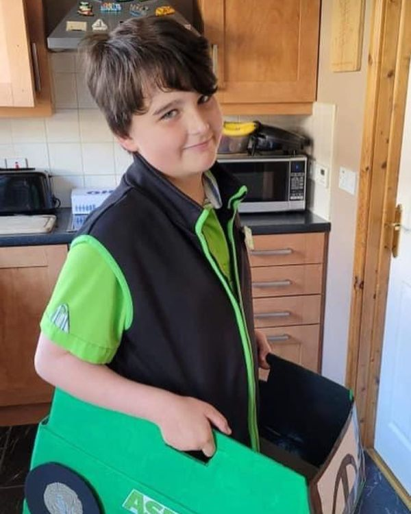 Rory Agnew dressed as an Asda Ballyclare delivery driver