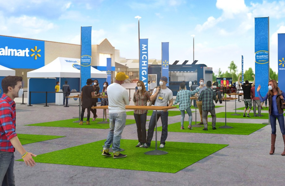 Walmart parking lot in the fall 2020