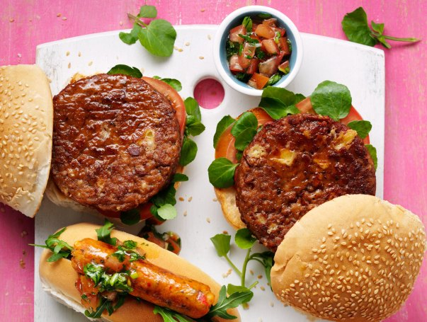 Vegan cheese and red onion burgers