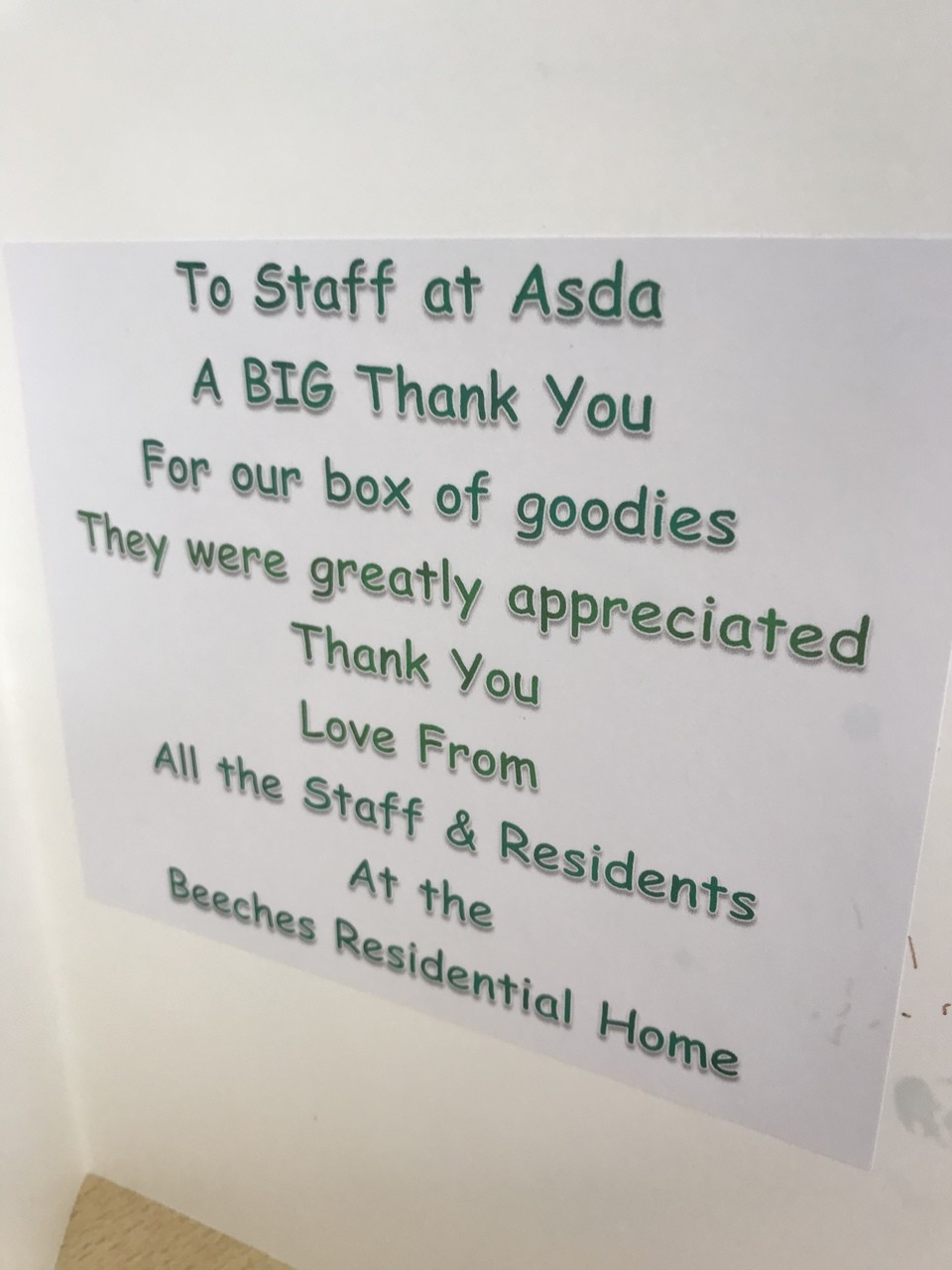 Fingerprint card from residents | Asda Canterbury