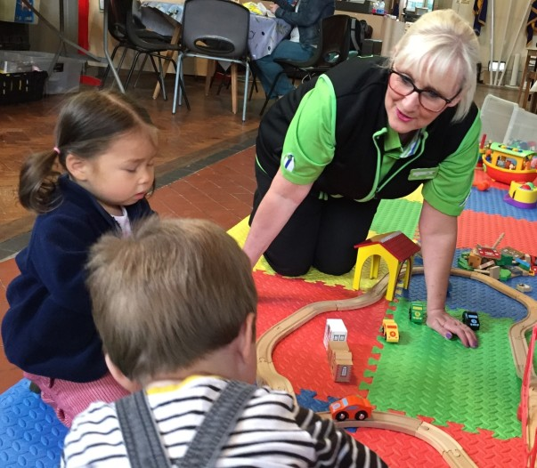 Jo Scott from Asda Pwllheli at the playgroup set up with funding from the Asda Foundation