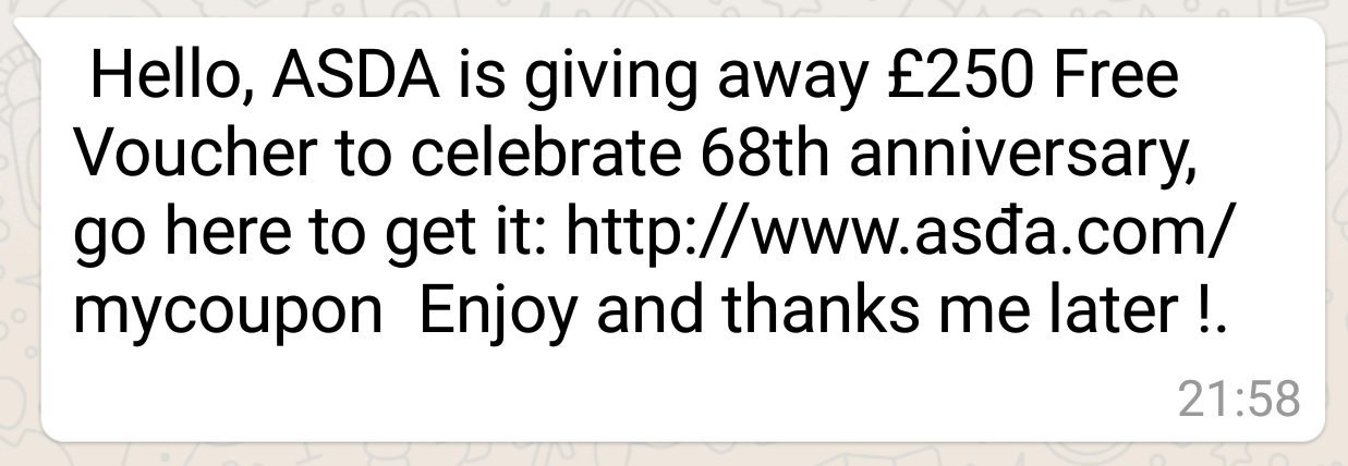 WhatsApp scam example