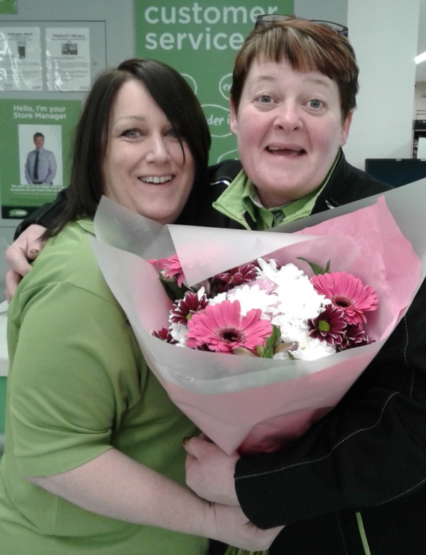 Sharon McBratney and Phyllis Livingstone celebrating Mother's Day at Asda Dundonald