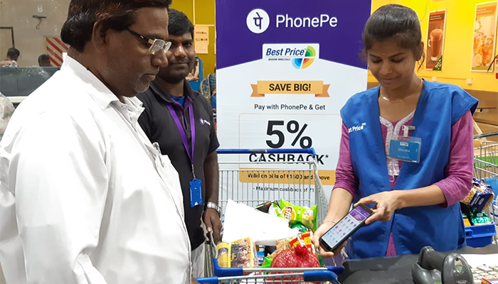 Customers paying in India with PhonePe