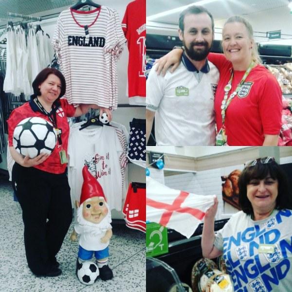 Colleagues at Asda Carlisle supporting England