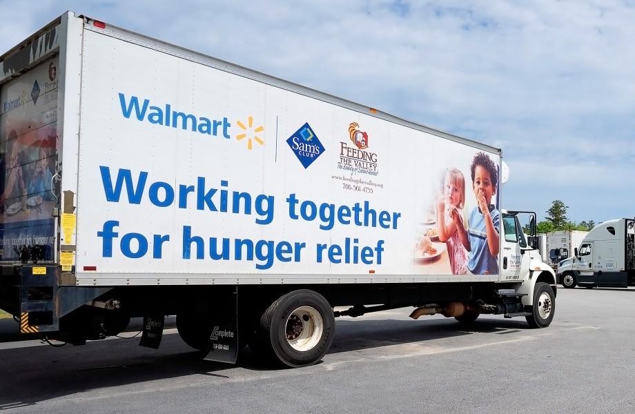 Walmart Truck with Walmart and Sams Logo