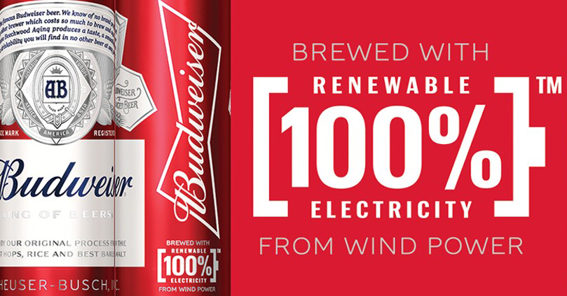 Anheuser-Busch Brewed with 100% Renewable Electricity logo and Budweiser can