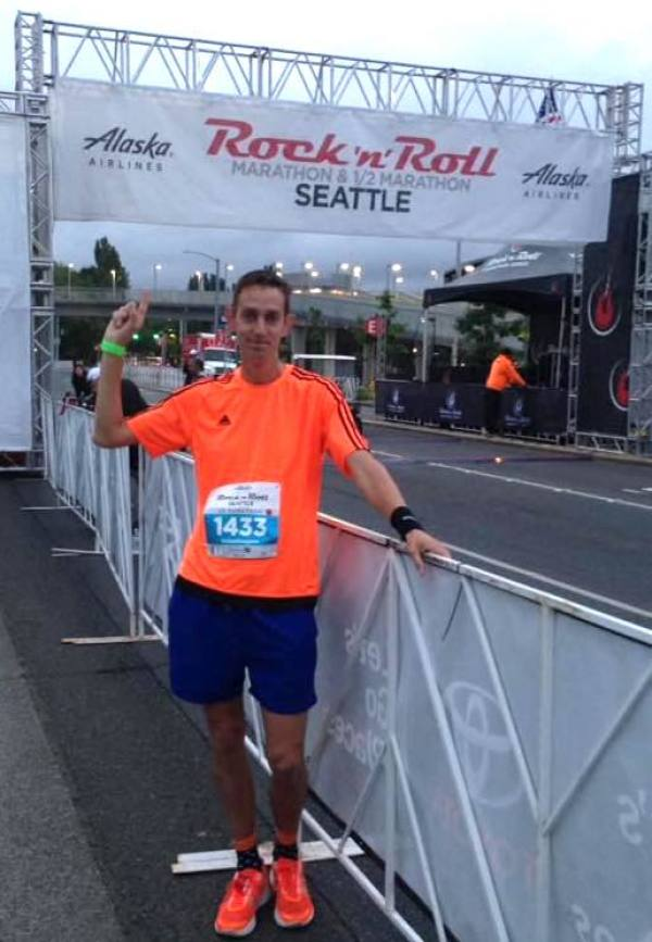 Asda colleague and marathon runner Phil Scott in Seattle