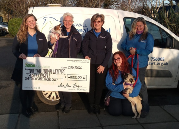 Asda Hayle Harbour green tokens donation to National Animal Welfare Trust Cornwall