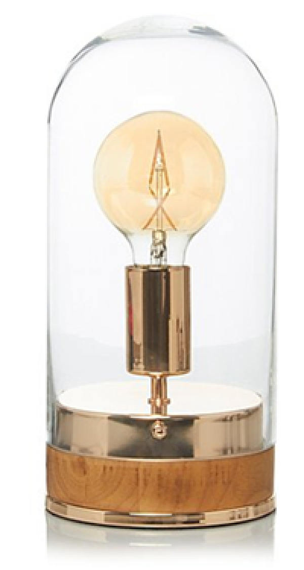 Copper bell jar lamp from George