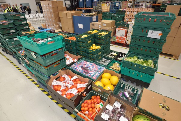 Fresh produce at the FareShare East Midlands depot opened with support from Asda