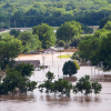 Aerial view of floods in the Mid South, homes and cars underwater