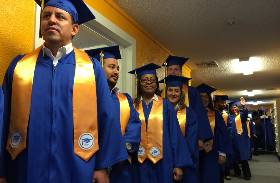 Associates line up for a Walmart Graduation Ceremony