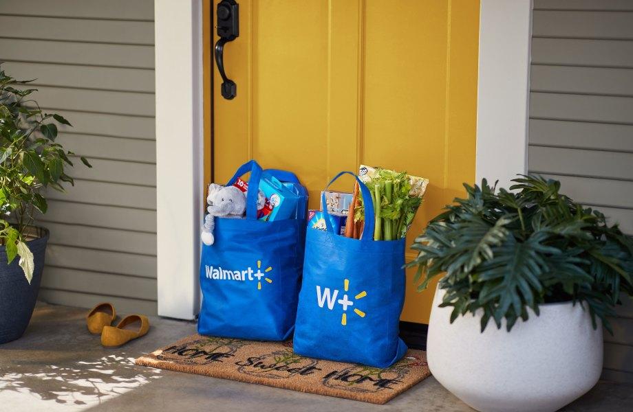 Walmart+ delivery on customer doorstep