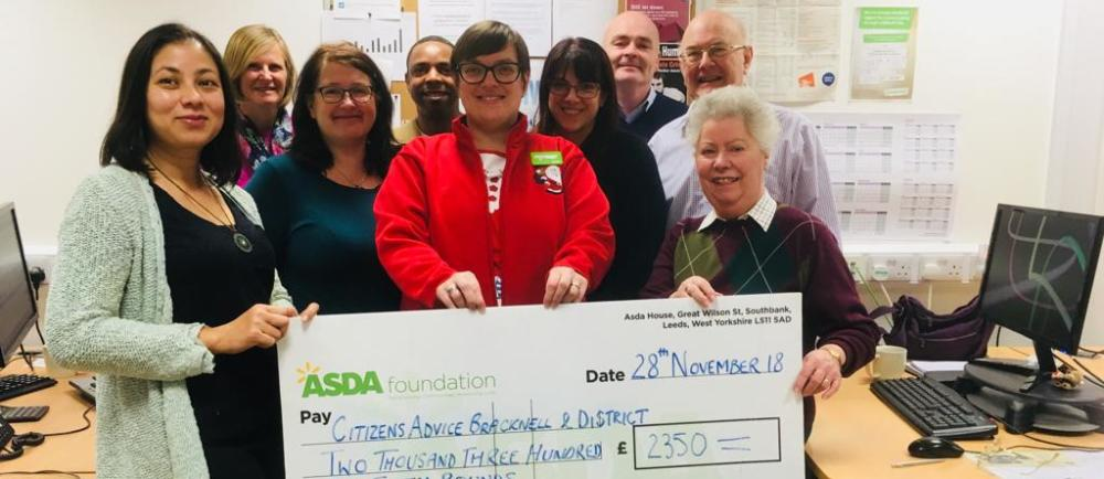 Asda Lower Earley donated to Citizens Advice Bracknell