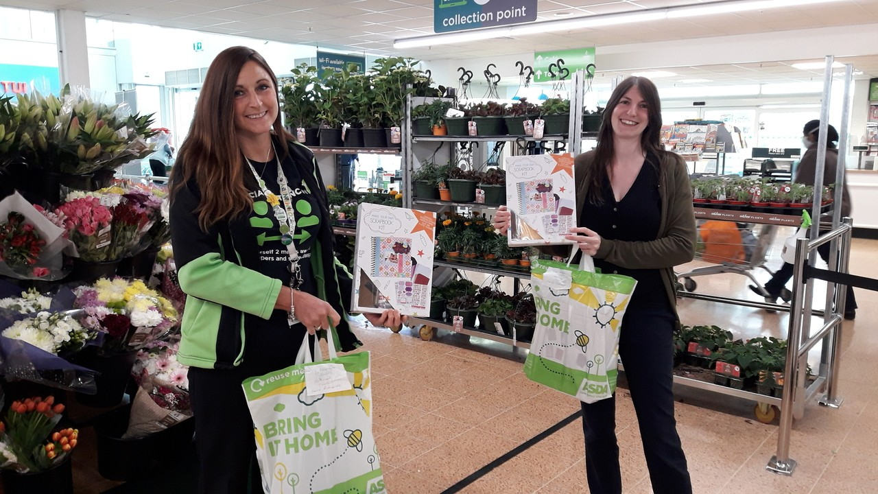 Donation of scrap books and notebooks for St Bernard Lovell School | Asda Longwell Green