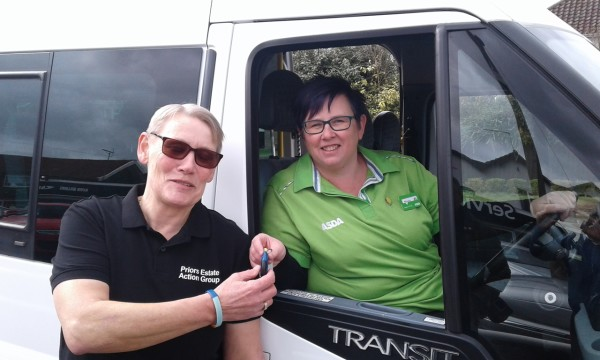 Asda Bury St Edmunds community champion Michelle Frost with Janice Gibson and the minibus