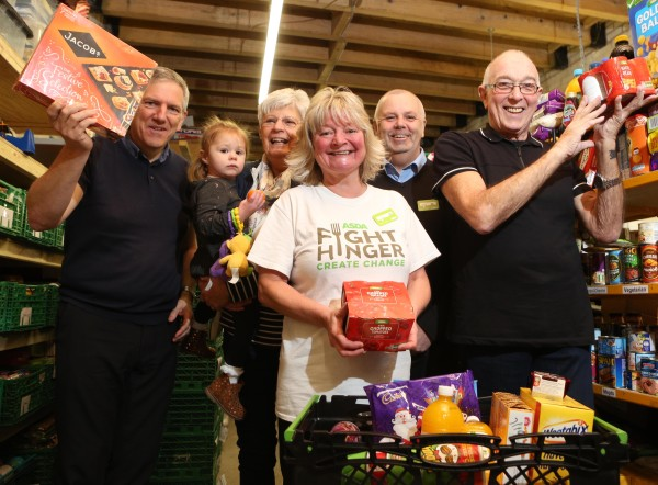 Asda Rhyl community champion Lisa with volunteers at Abergele District Foodbank