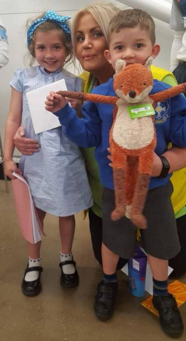Wendy Cummings from Asda Felling returns Foxy to Patrick and Caite