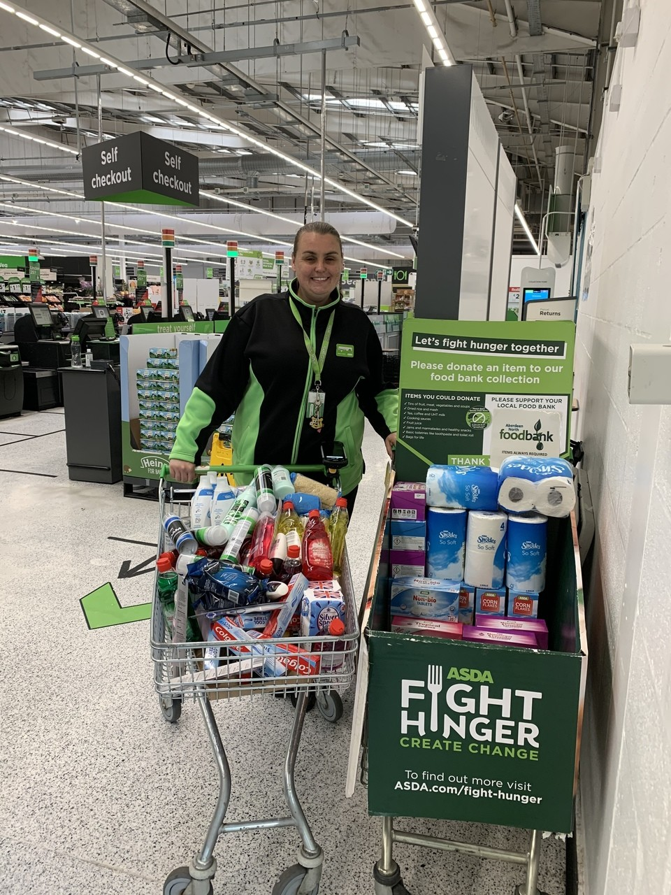 Happy to support local food bank   Asda Aberdeen Beach