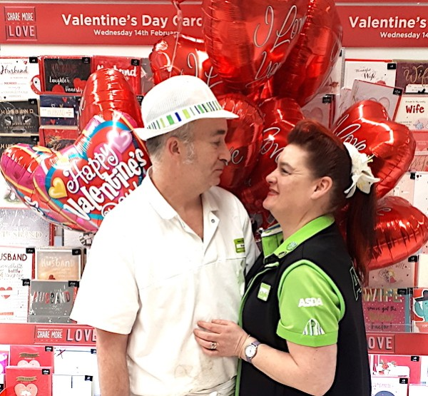 Bryan and Debbie in the Valentine's aisle