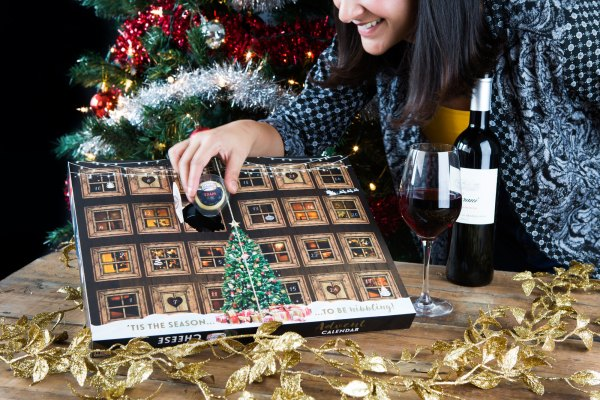 Annem Hobson with her Cheese Advent calendar for Christmas 2018
