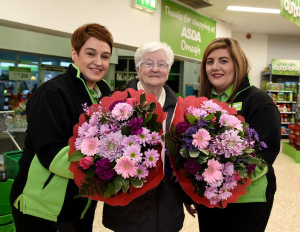Customer Anna McGonagle says thank you to Jacqui Starrs and Louise Logue from Asda Omagh who helped when she had a nasty fall