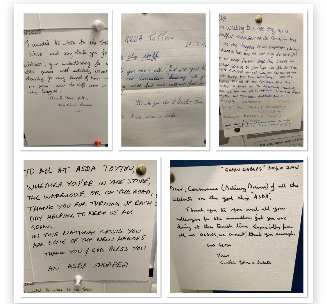 These thank you letters were sent to our store by our lovely customers. ❤️💙 | Asda Totton