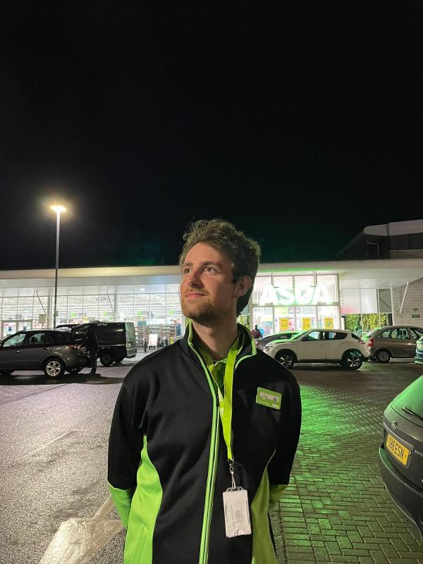 Finn Mulligan from Asda Huntly helped motorists stuck in heavy snow