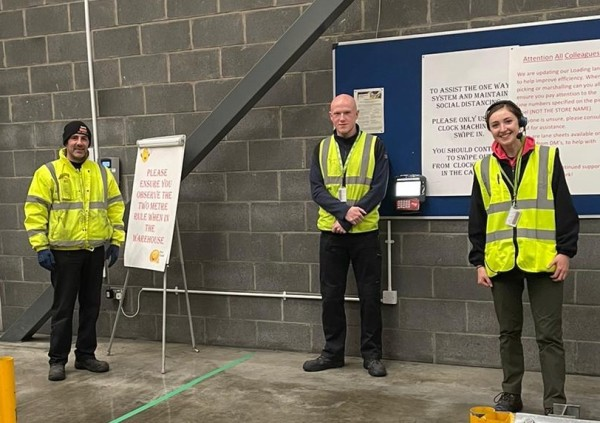 Isla Fairfield with colleagues at the Asda Grangemouth warehouse
