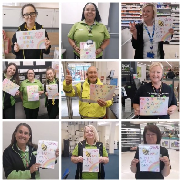 Asda Chadderton colleagues wish Janae Nolan a happy birthday