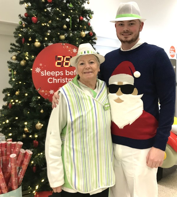 Asda Stanley colleagues Maureen and Jack at Christmas
