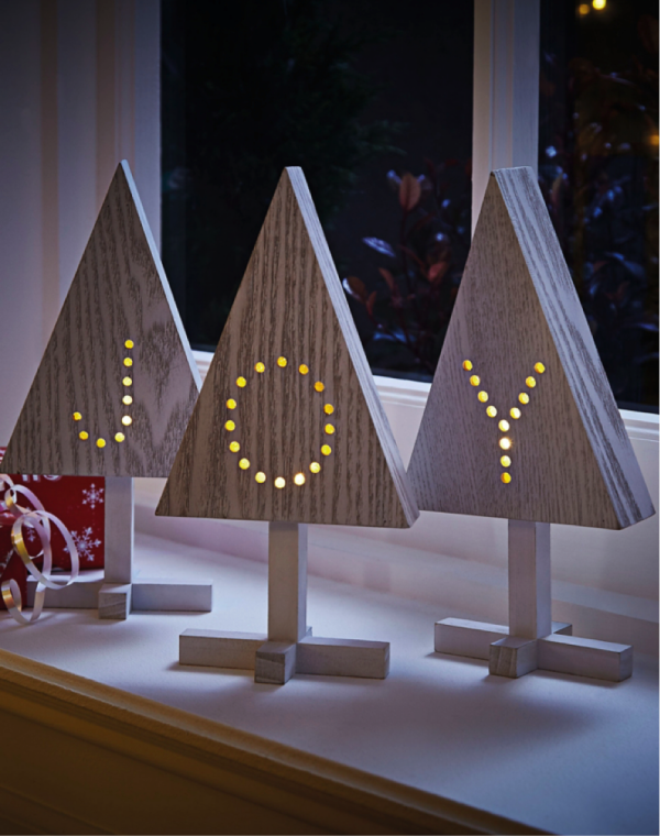 Wooden LED Christmas tree lights from George at Asda