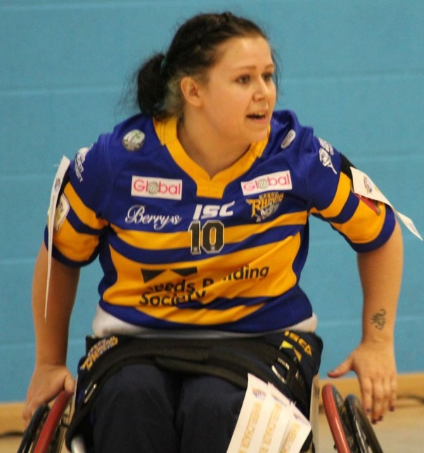 Jodie playing for Leeds Rhinos