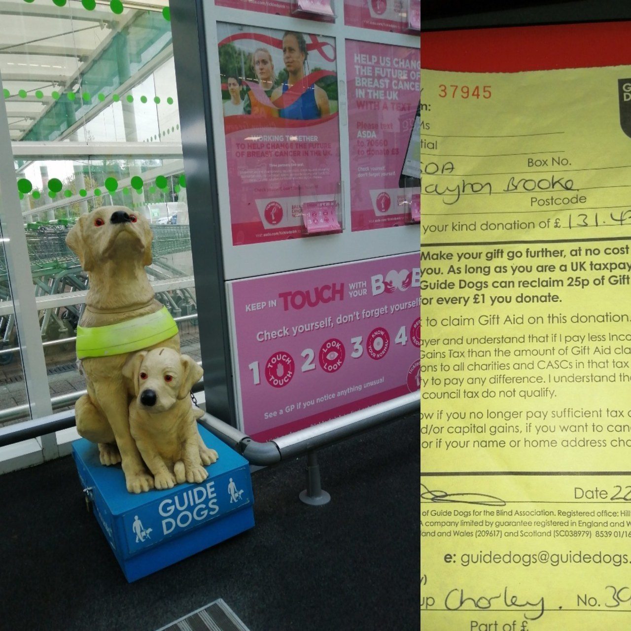 Thank you Clayton Green for you donation to Guide Dogs | Asda Clayton Green
