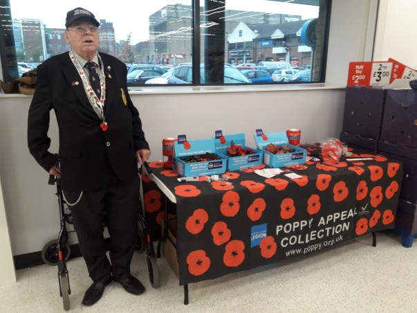 Veteran Geoff sells Poppies at Asda Peterborough