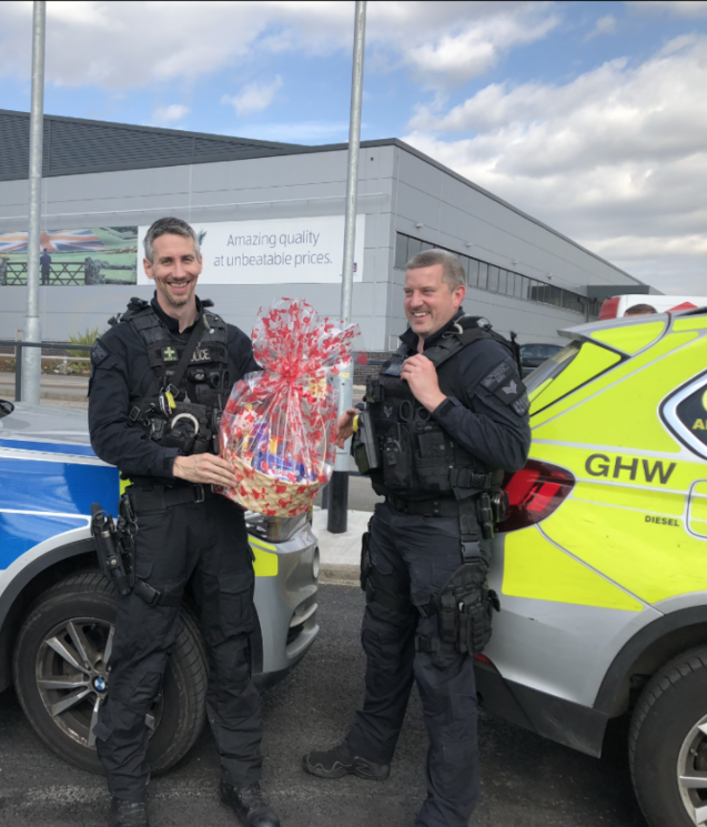 A helping hand from the police to deliver our care packages to NHS Nightingale!  | Asda Dagenham
